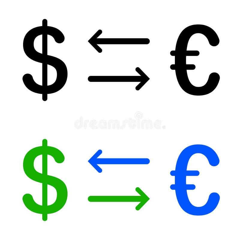 Omzetting van dollar en euro pictogram stock illustratie
