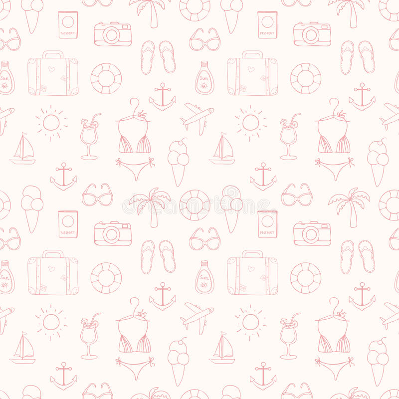 Free On Vacation Summer Sketch Seamless Pattern Royalty Free Stock Photos - 42297918