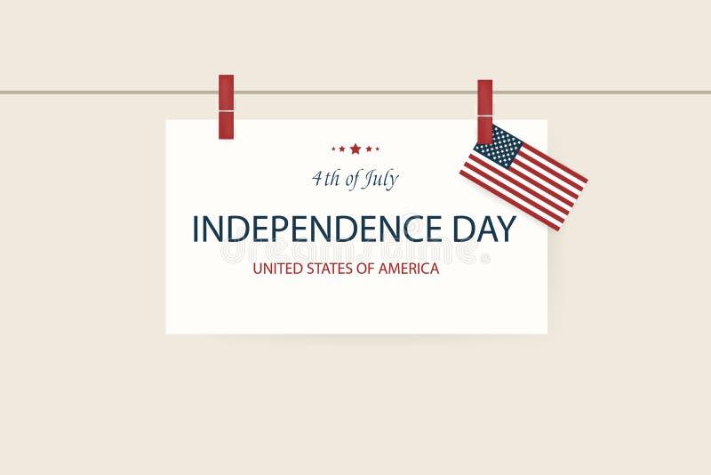 Onafhankelijkheid Dag de V Vierde van Juli Amerikaanse patriottische illustratie De achtergrond van het ontwerpmalplaatje met Ame royalty-vrije illustratie