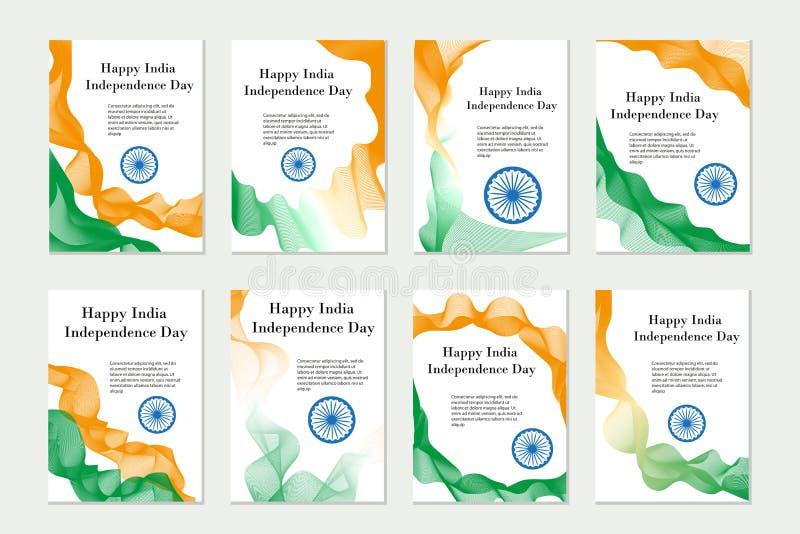Onafhankelijkheid dag India Reeks malplaatjes, brochures, vliegers voor uw ontwerp in de kleuren van de nationale vlag van India vector illustratie