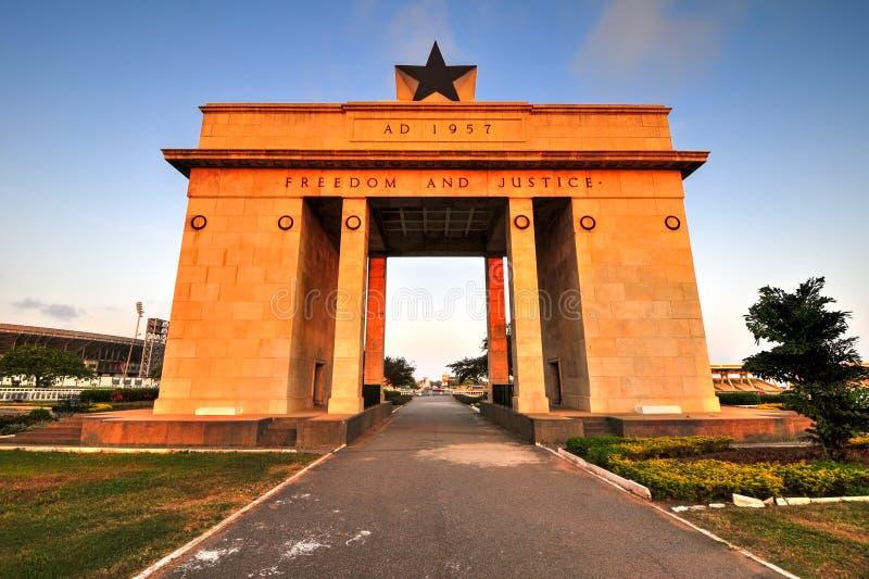 Onafhankelijkheidsboog, Accra, Ghana stock afbeeldingen