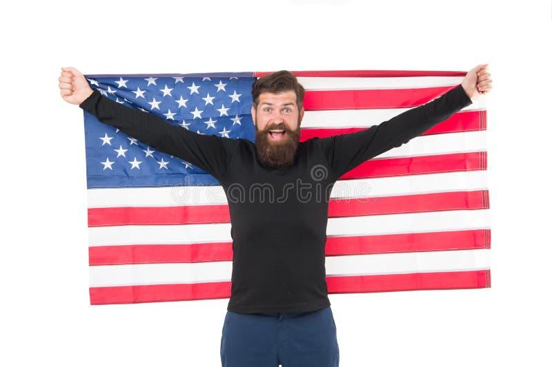 Onafhankelijkheidsconcept De carri?regroei De Amerikaanse vlag van de mensengreep De kansen van het land Nationale feestdag Gebaa stock foto's