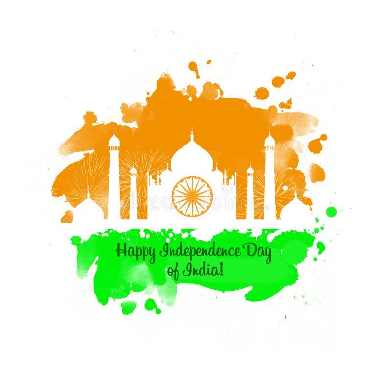 Onafhankelijkheidsdag van digitale de kunstillustratie van India De nationale Indische kaart van de vakantiegroet, affiche, broch royalty-vrije illustratie