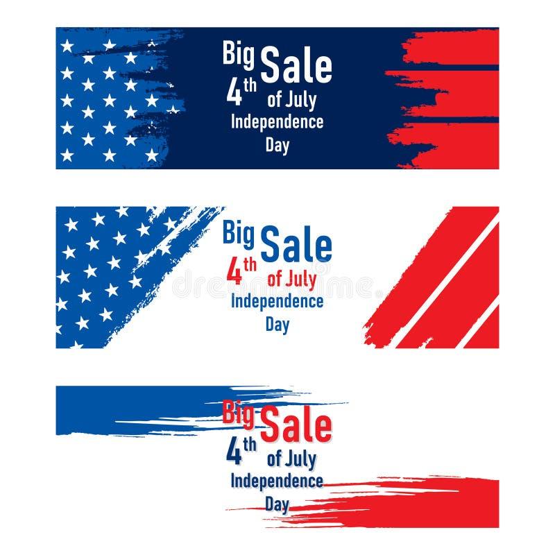 Onafhankelijkheidsdag van het ontwerp van de de verkoopbanner van de V.S. royalty-vrije illustratie