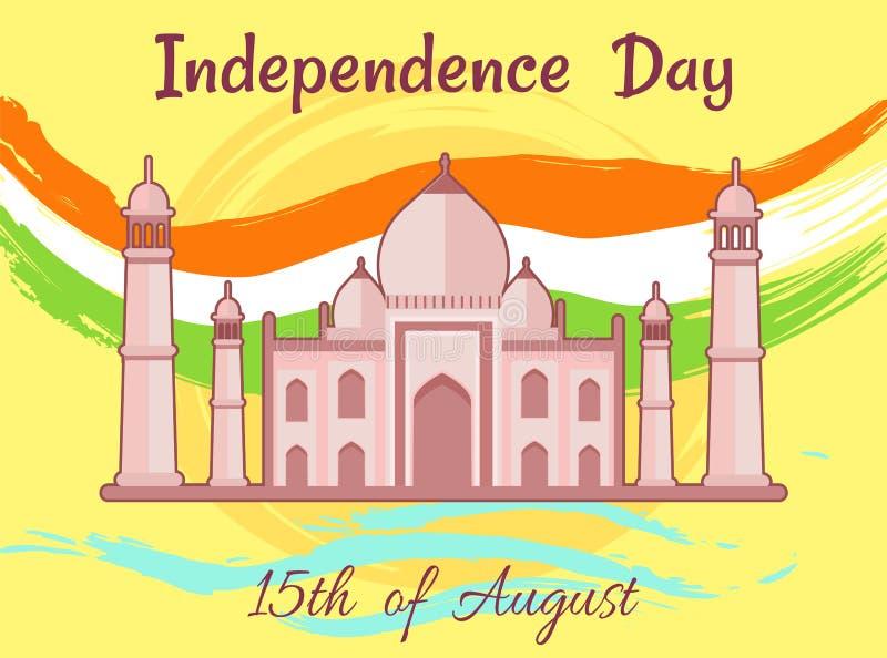Onafhankelijkheidsdag van India vijftiende August Taj Mahal vector illustratie