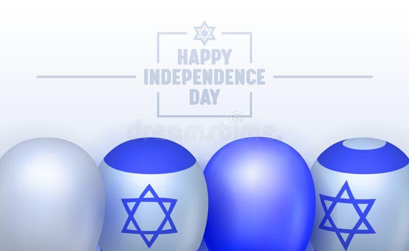 Onafhankelijkheidsdag van Israel Typography Banner Duidelijk door Officiële en Officieuze Ceremonie Familievergadering, Vuurwerk  vector illustratie