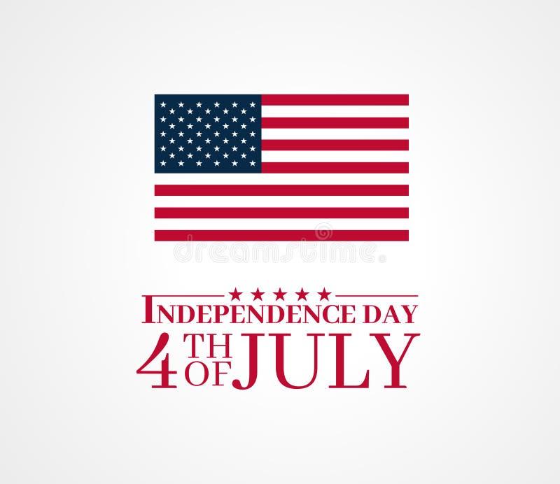 Onafhankelijkheidsdag, vierde van Juli-ontwerp met de vlag van de Verenigde Staten van Amerika De vector geïsoleerde achtergrond  stock illustratie