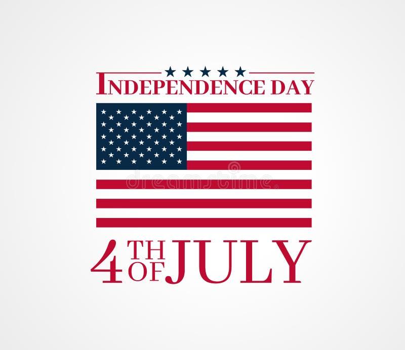 Onafhankelijkheidsdag, vierde van Juli-ontwerp met de vlag van de Verenigde Staten van Amerika De vector geïsoleerde achtergrond  royalty-vrije illustratie