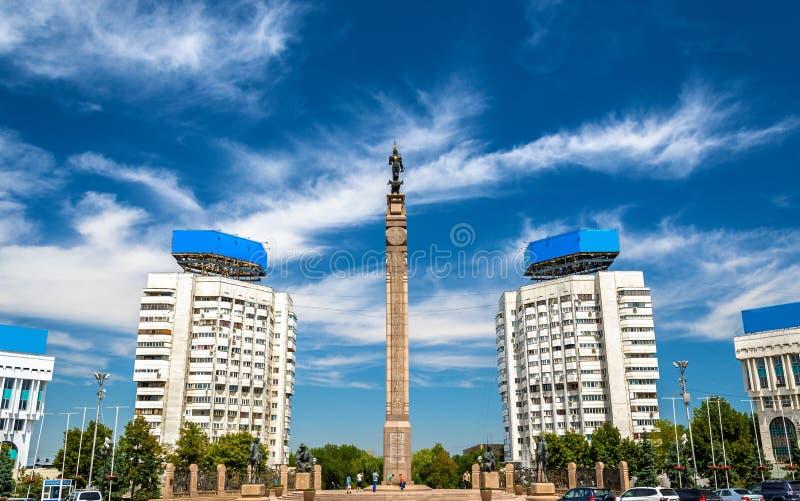 Onafhankelijkheidsmonument op het Vierkant van de Republiek van Alma Ata - Kazachstan royalty-vrije stock foto