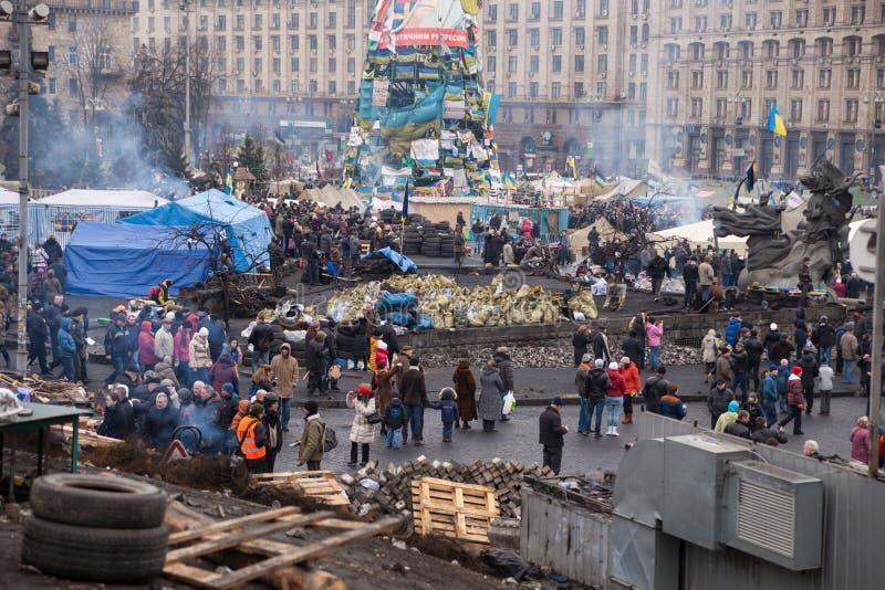 Onafhankelijkheidsvierkant, Euromaidan in Kiev, de Oekraïne royalty-vrije stock afbeelding