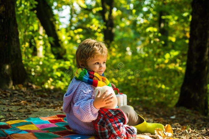 Onafscheidelijk met stuk speelgoed Spel van het jongens het leuke kind met teddybeer bosachtergrond Het kind nam favoriet stuk sp royalty-vrije stock foto