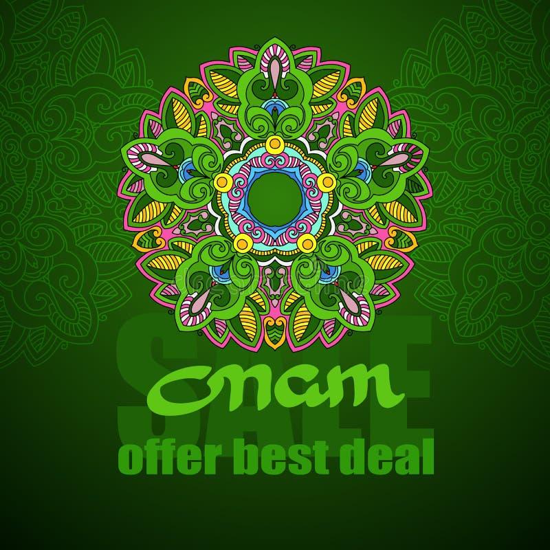 Onam与五颜六色的坛场的销售横幅 向量 向量例证