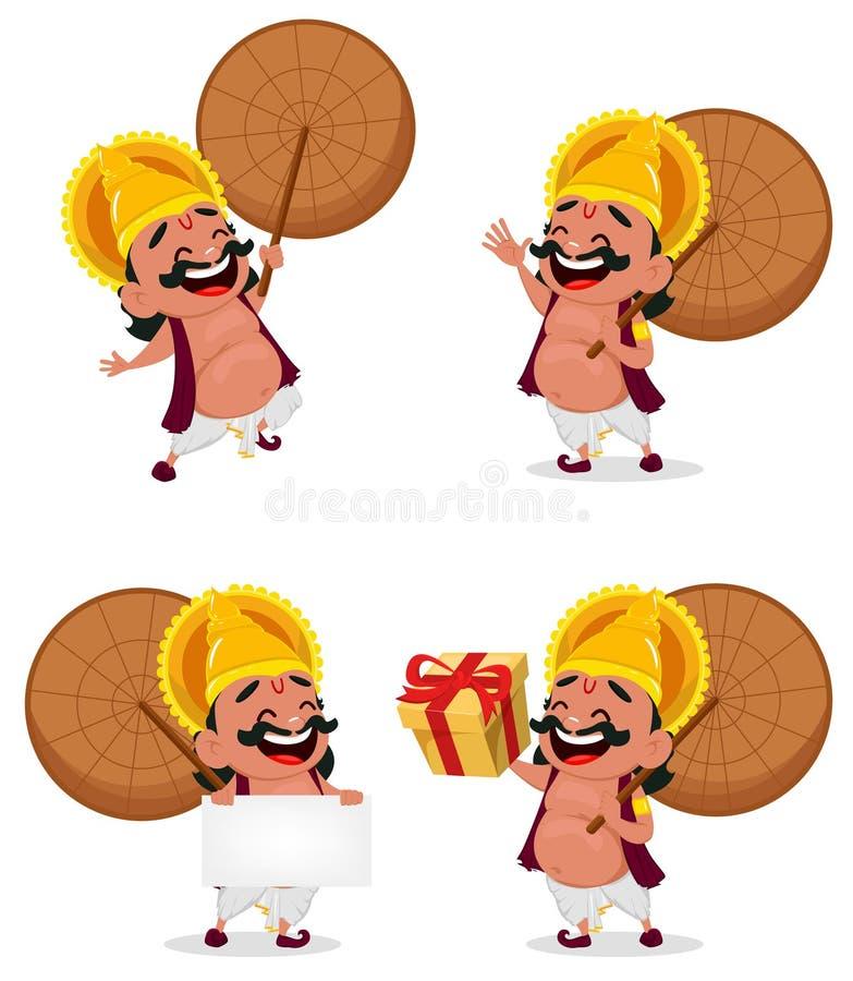 Onam庆祝 Mahabali国王拿着伞,套的四个姿势 向量例证