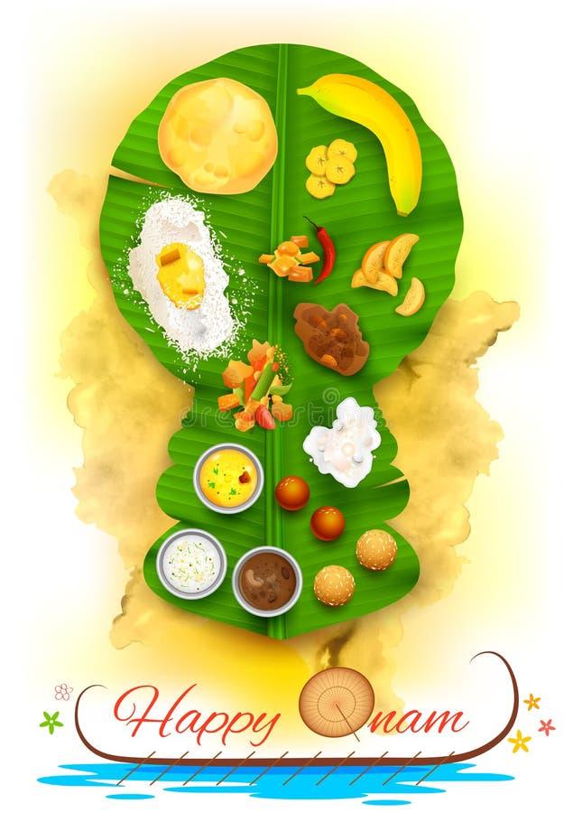 Onam-Fest auf Bananenblatt stock abbildung