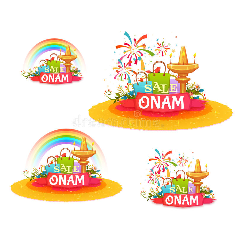 Onam holiday sale banner set with ribbon. Vector illustration stock illustration