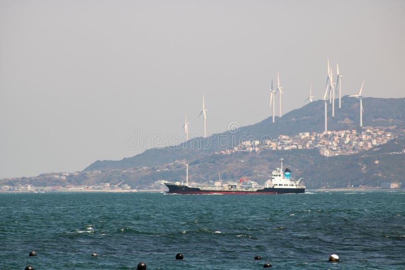 Cargo Ship at Onaruto Bridge Pass stock photo