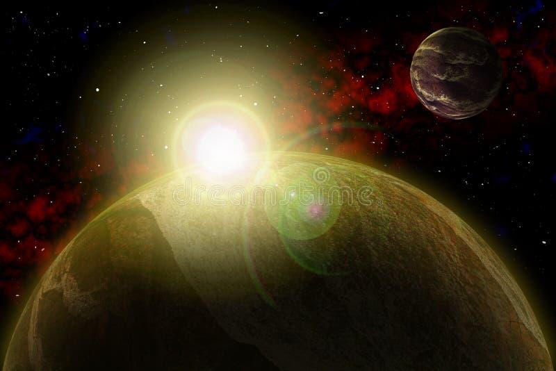 Onbekende planeet Kleurenster, zon, maan, sterren, ruimtenevel Basis: auteurs` s phototextures stock illustratie