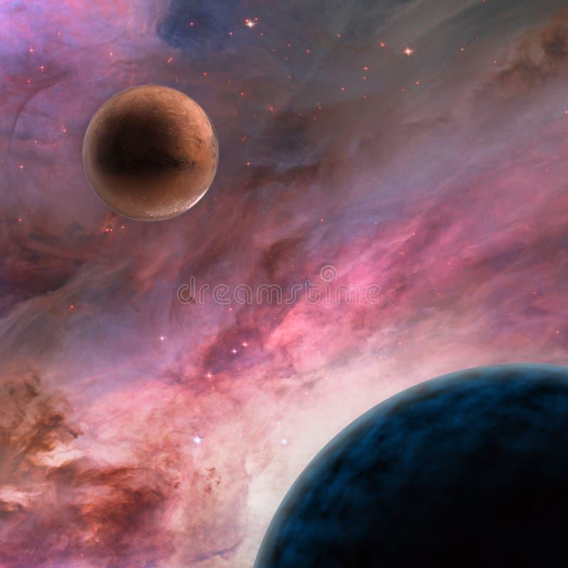 Onbekende planeten in diepe ruimte stock illustratie