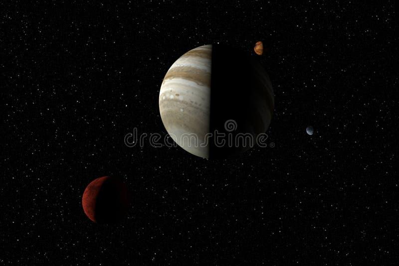 Onbekende planeten, sterren en nevel in kosmische ruimte Ruimte explorat stock foto