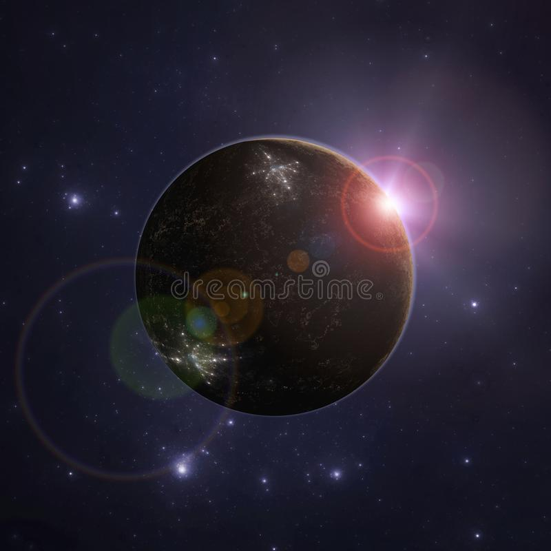 Onbekende vreemde planeet in diepe ruimte royalty-vrije illustratie