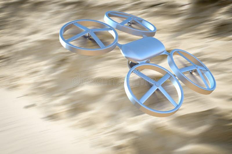 Onbemande Luchtvoertuighommel tijdens de vlucht over de woestijn stock afbeelding