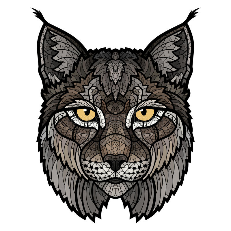 Onbetrouwbaar lynxmascotte geïsoleerd hoofd vector illustratie