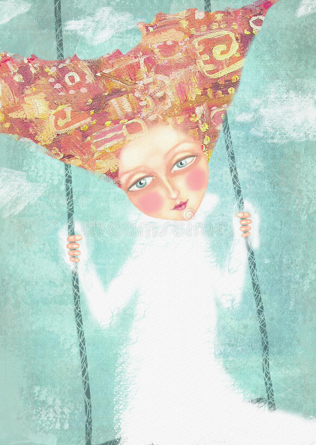 Onbezorgd jong meisje die in de hemel met wolken slingeren vector illustratie