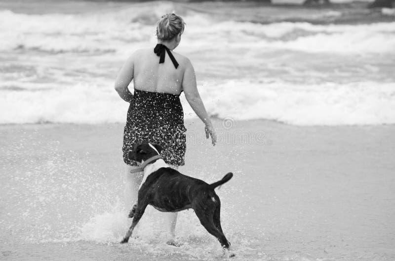 Onbezorgde jonge vrouw en haar het beste vriendenhond spelen samen in brandingsstrand royalty-vrije stock afbeelding