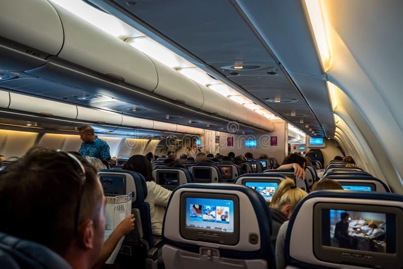 Onboard Hawaiian Airlines stock photo