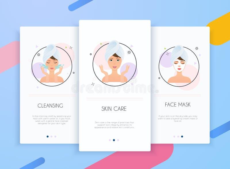 Onboarding屏幕皮肤护理的流动应用程序模板概念的用户界面成套工具 步如何应用面部面具 Skincare 库存例证