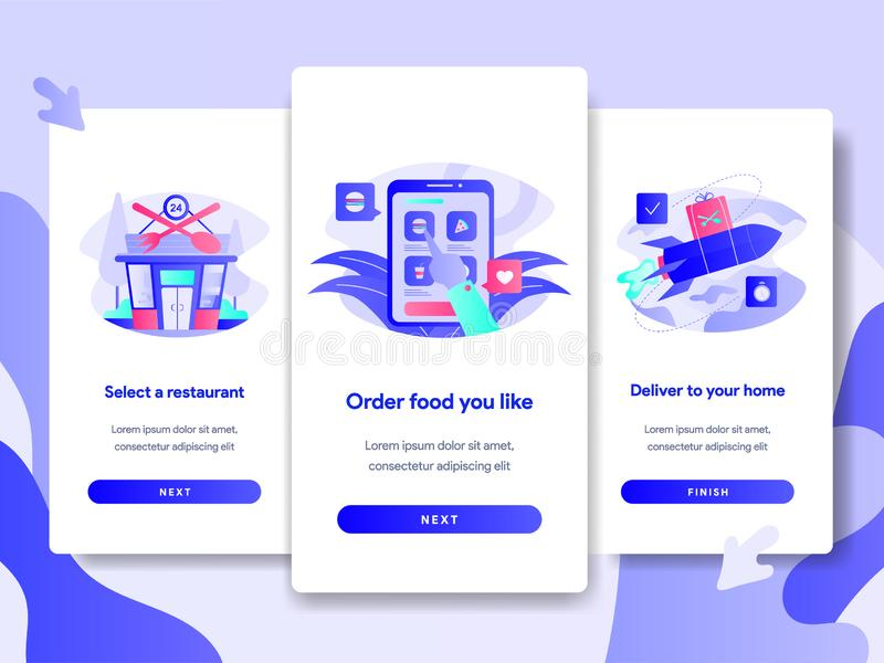 Onboarding屏幕网上食物交付概念页模板  网页设计的现代平的设计观念网站的和 库存例证