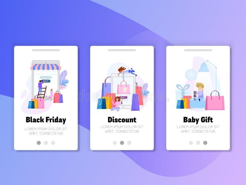 Onboarding экранирует набор пользовательского интерфейса Черная продажа пятницы, подарок для детей, скидок онлайн иллюстрация вектора