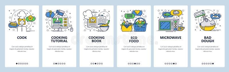Onboarding οθόνες ιστοχώρου Μαγειρεύοντας βιβλίο και σε απευθείας σύνδεση συνταγή, οργανική τροφή Διανυσματικό πρότυπο εμβλημάτων απεικόνιση αποθεμάτων