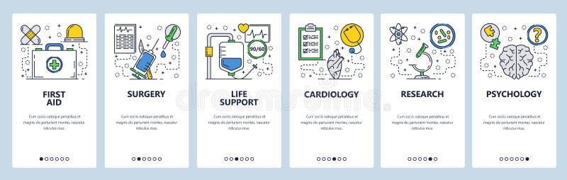 Onboarding οθόνες ιστοχώρου Πρώτες βοήθειες, ιατρική κλινική, νοσοκομείο, χειρουργική επέμβαση Διανυσματικό πρότυπο εμβλημάτων επ απεικόνιση αποθεμάτων