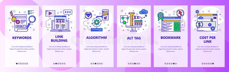 Onboarding οθόνες ιστοχώρου SEO, ψηφιακό μάρκετινγκ και διαφήμιση ιστοχώρου Διανυσματικό πρότυπο εμβλημάτων επιλογών για τον ιστο ελεύθερη απεικόνιση δικαιώματος