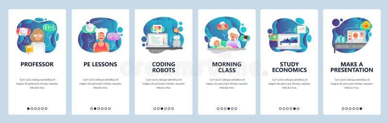 E 学校和大学教育,编程的机器人,研究经济,早晨类 ?? 向量例证