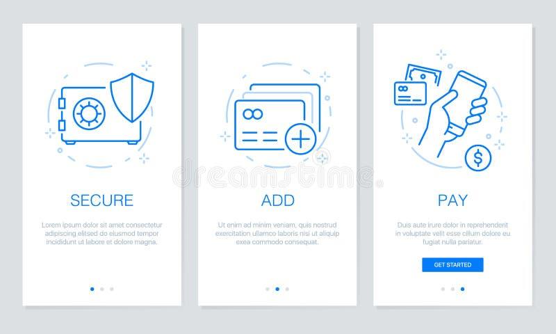 Onboarding app avskärmar moderna och förenklade skärmar för vektorillustrationwalkthroughen UI-mall för mobila apps stock illustrationer