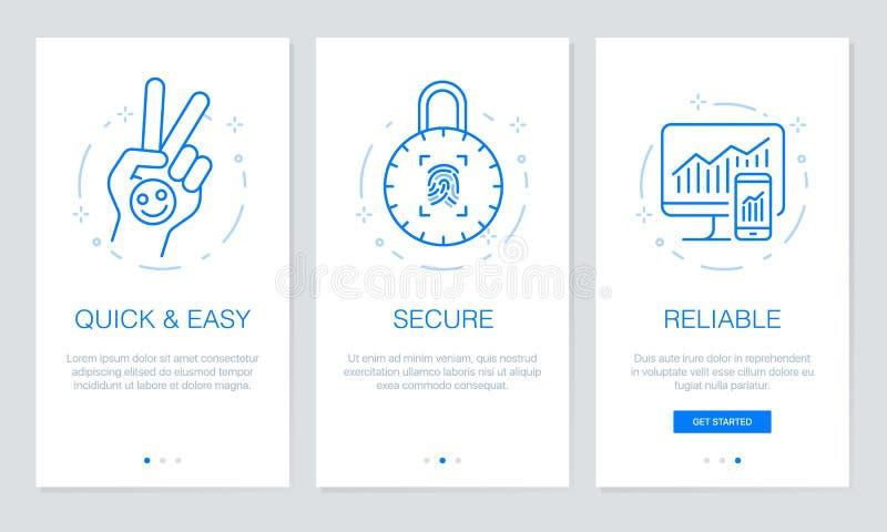 Onboarding app ekranizuje Nowożytnych i uproszczonych wektorowych ilustracyjnych walkthrough ekrany UI szablon dla mobilnych apps ilustracja wektor