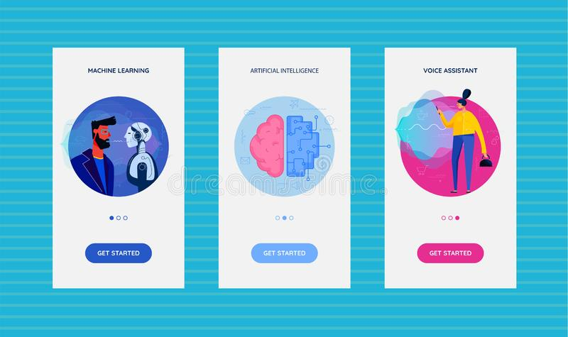 Onboarding App Screens With Artificial Intelligence Technology stock illustration