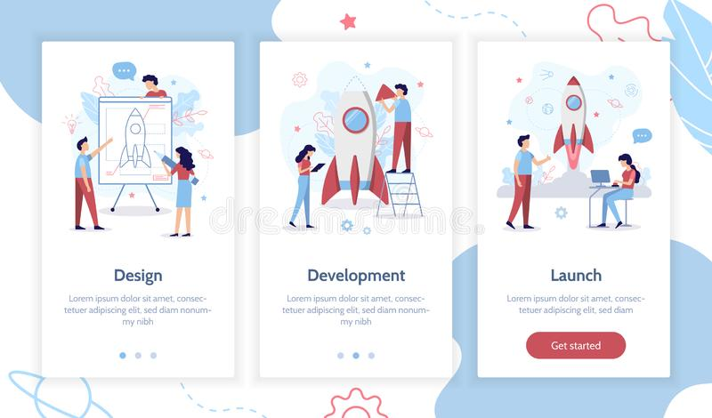 Onboarding app screens. The development team is working on the project. Creation of a rocket. Onboarding screens template. Mobile app design. Business concept vector illustration