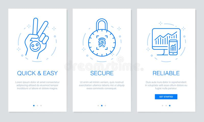Onboarding app screens Modern and simplified vector illustration walkthrough screens. UI template for mobile apps, smart phone or. Line icon vector: Onboarding vector illustration