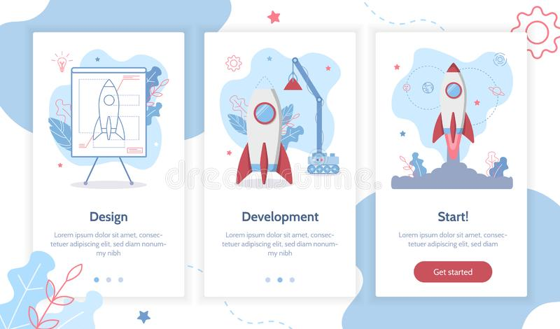 Onboarding app screens stock illustration