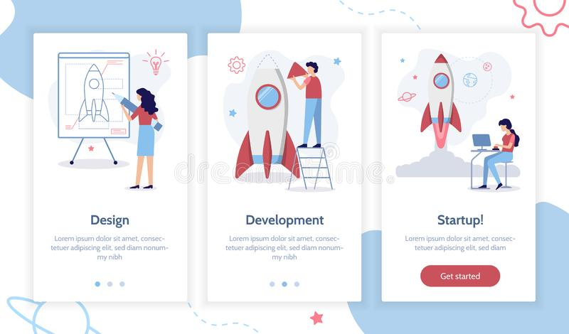 Onboarding app screens. Stages of launching a startup. From idea to finished product. Creation of a rocket. Onboarding screens template for mobile applications vector illustration