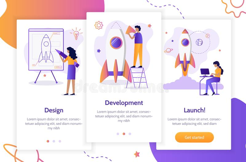 Onboarding app screens. Stages of launching a startup. From idea to finished product. Creation of a rocket. Onboarding screens template. Mobile app design vector illustration