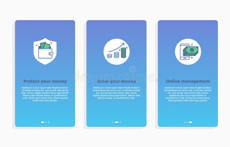 Onboarding betalning app avskärmar moderna och förenklade skärmar för vektorillustrationwalkthroughen UI-mall för mobila apps, sm vektor illustrationer