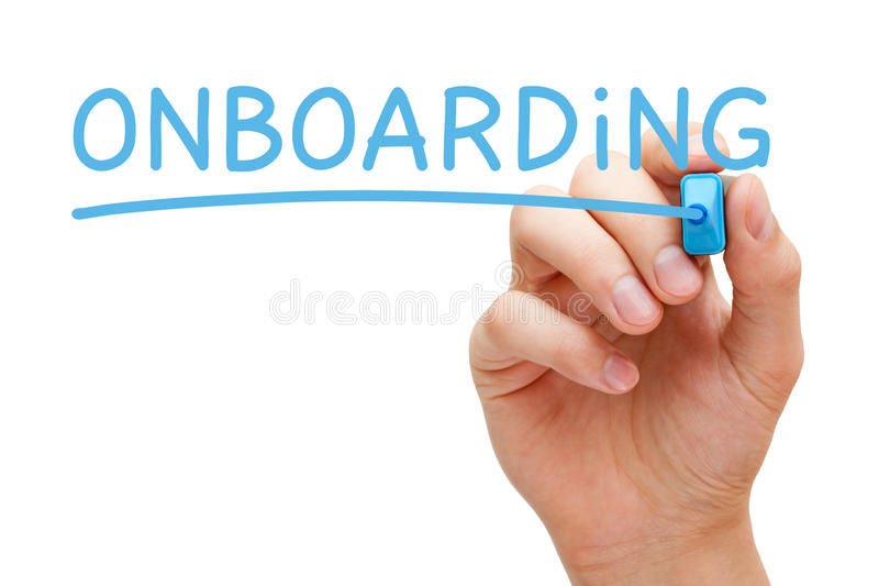Onboarding Blue Marker. Hand writing Onboarding with blue marker on transparent wipe board isolated on white royalty free stock photo