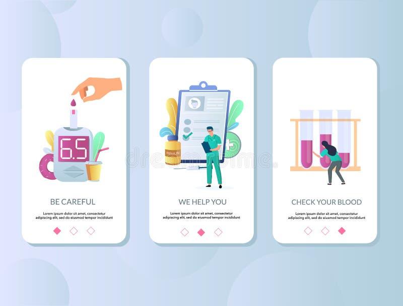 Onboarding de schermen vectormalplaatje van de diabetesmobiele toepassing royalty-vrije illustratie