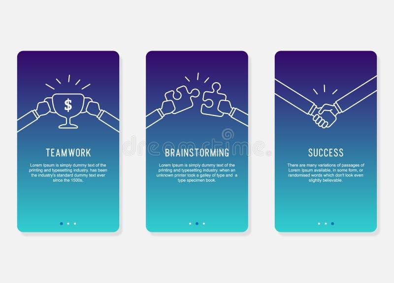 Onboarding ekranów projekt w biznesowego sukcesu pojęciu Nowożytna Minimalna i uproszczona ilustracja, szablon dla mobilnych apps ilustracja wektor