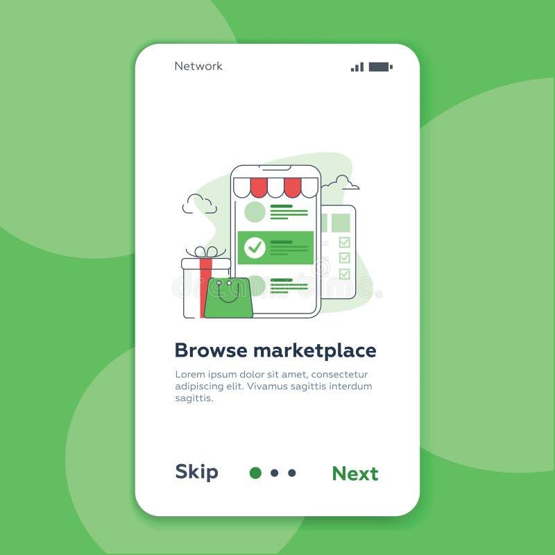 Onboarding ekranu interfejsu użytkownika zestaw Nowożytny interfejs użytkownika UX, UI parawanowy szablon dla mobilnego mądrze te ilustracja wektor