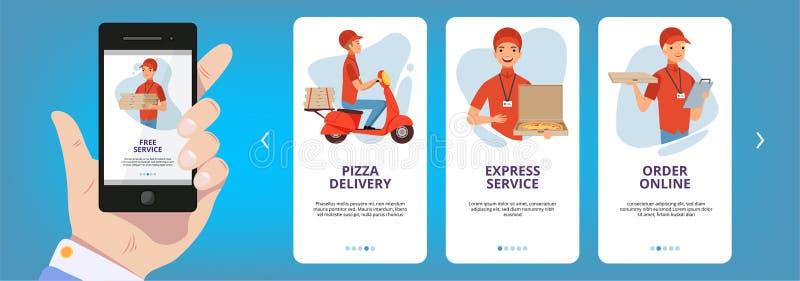 Onboarding ekrany Internetowy sieci kart ramy układu app dla karmowego pizza online rozkazu wektorowych szablonów inkasowych ilustracji